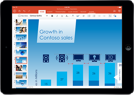 A tablet showing a PowerPoint slide in Presentation mode with markup.