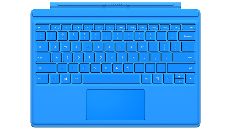 Bright Blue Surface Pro 4 Type Cover Front view