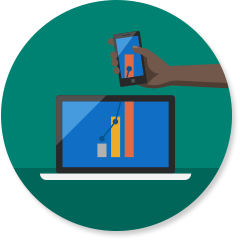 Productivity icon with computer and phone with bar charts