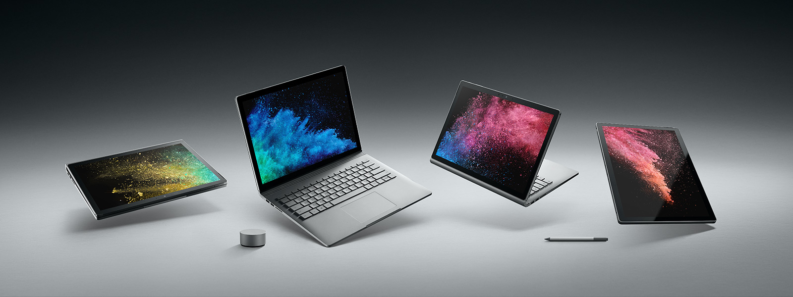 Surface Book 2 shown in different modes, with Surface Dial and Surface Pen.