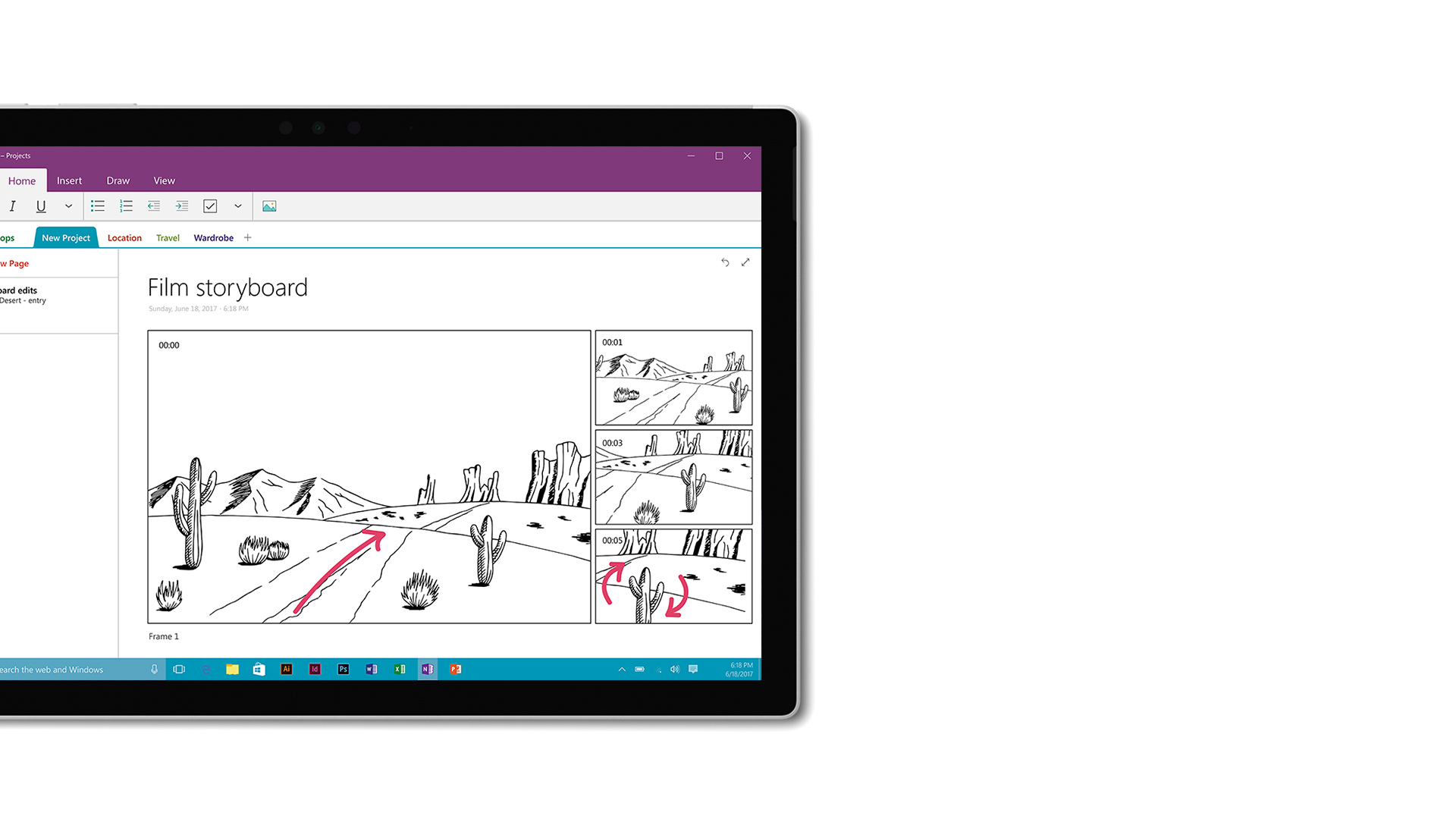 OneNote screen shot on Surface.