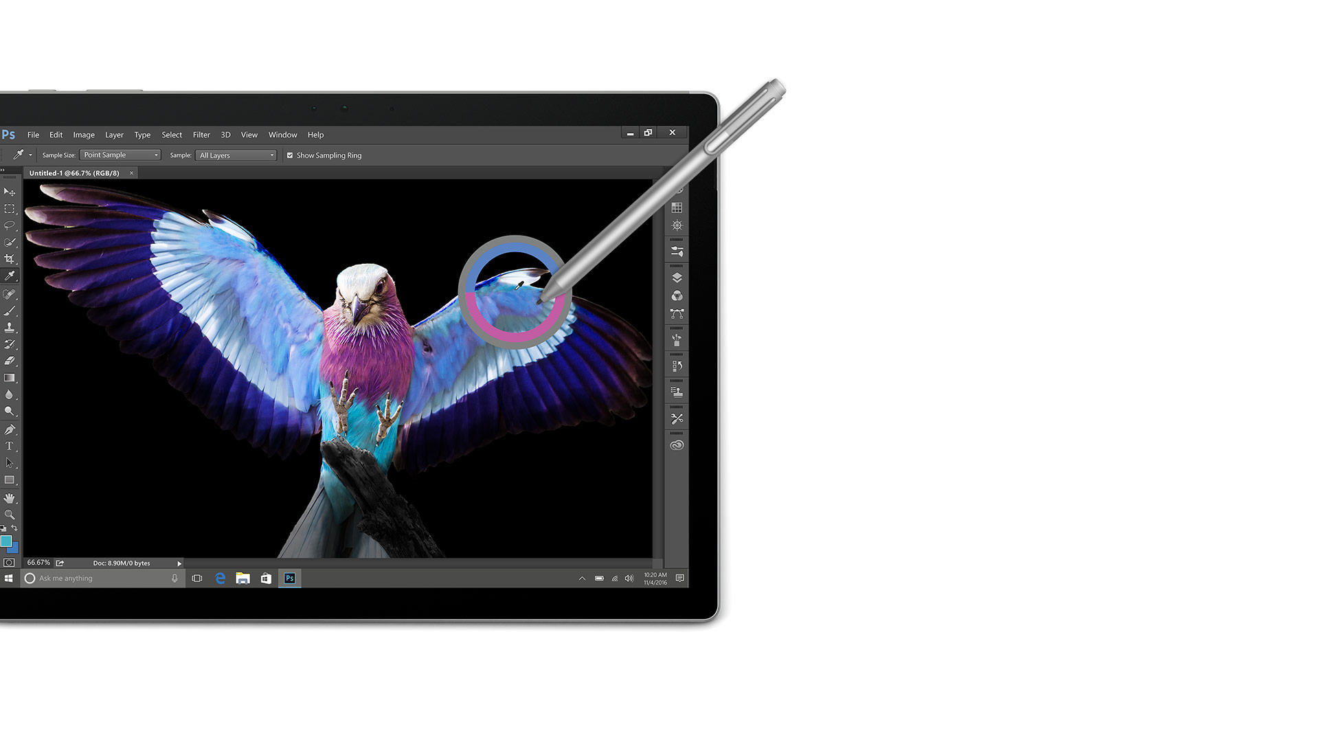 Surface Book display with Pen touching the screen and a color picker appearing on the screen