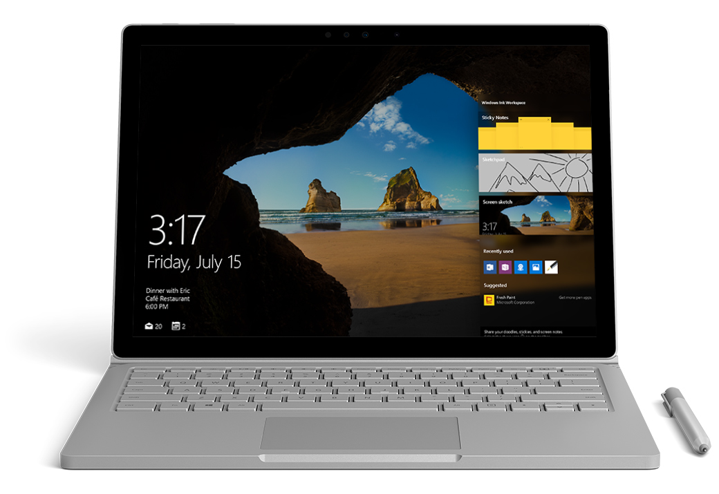 Surface Book facing front with the Windows Action Center visible on the right of the screen