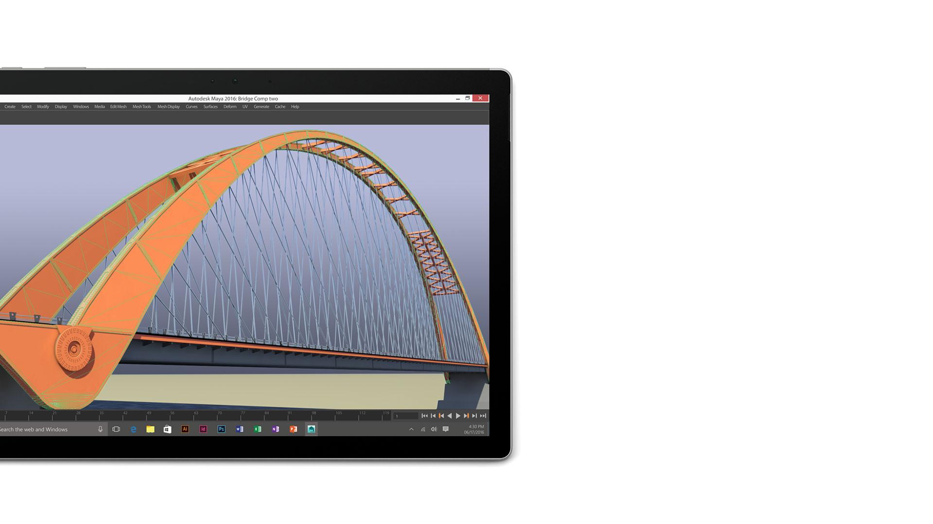 Autodesk Maya 2016 open on the Surface Book display