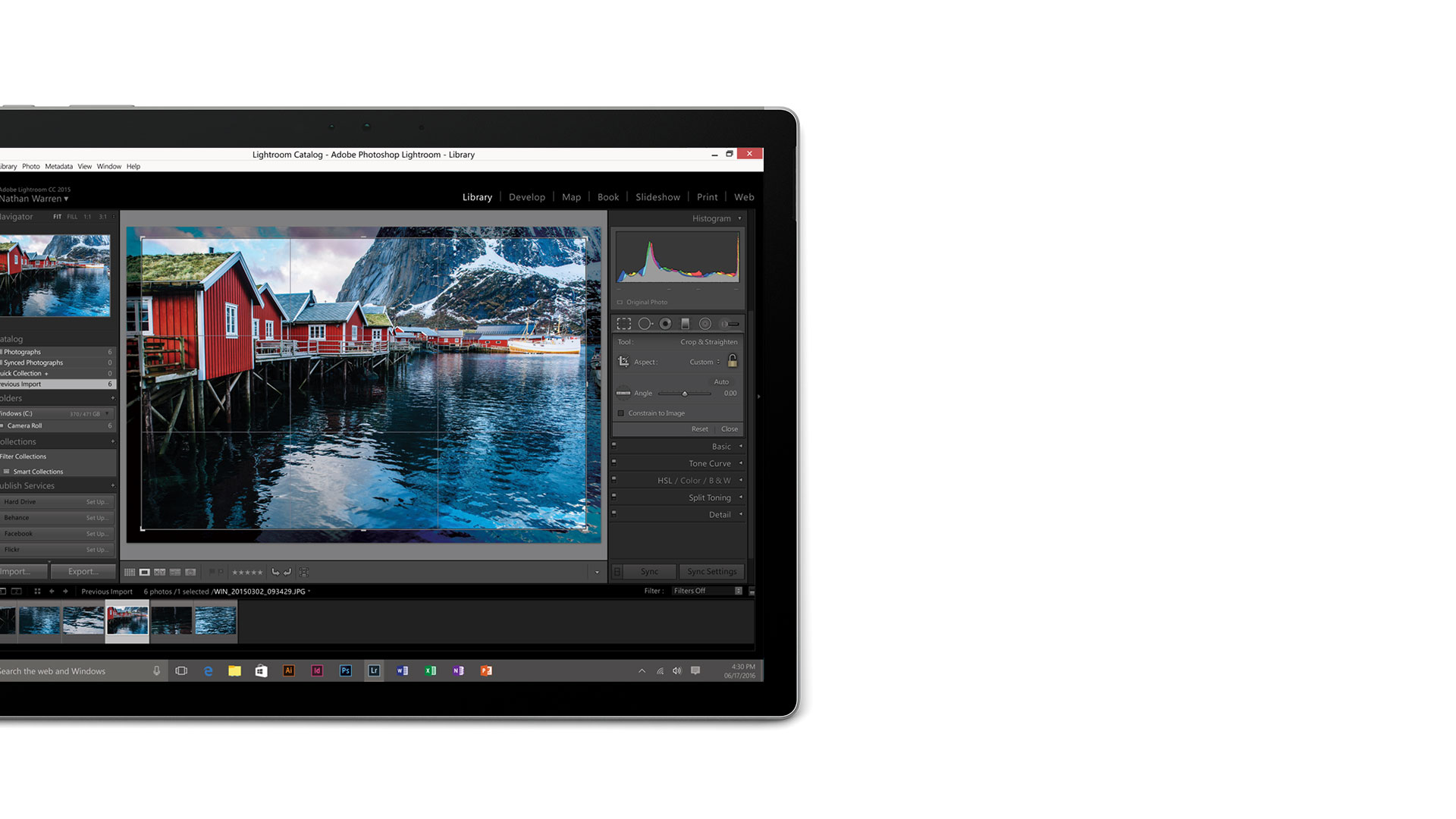 Adobe Lightroom open on the Surface Book display