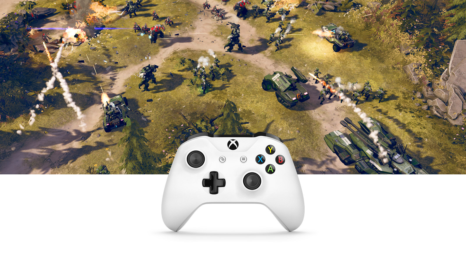 image of Halo Wars 2 gameplay and Xbox Wireless Controller