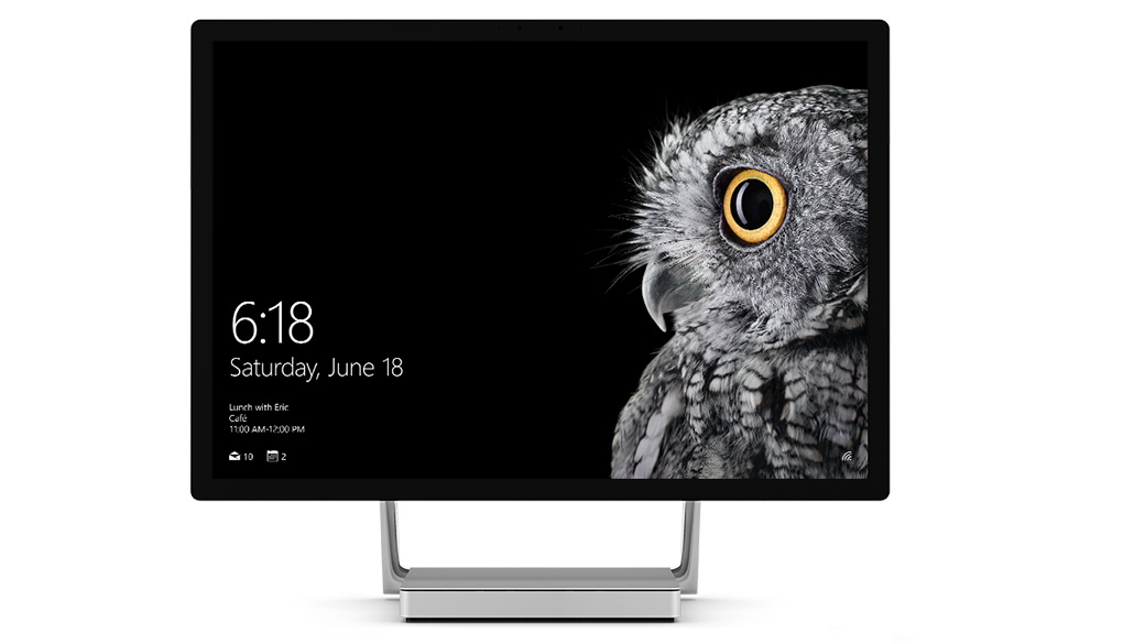 Surface Studio shown upright with Windows screen shot.