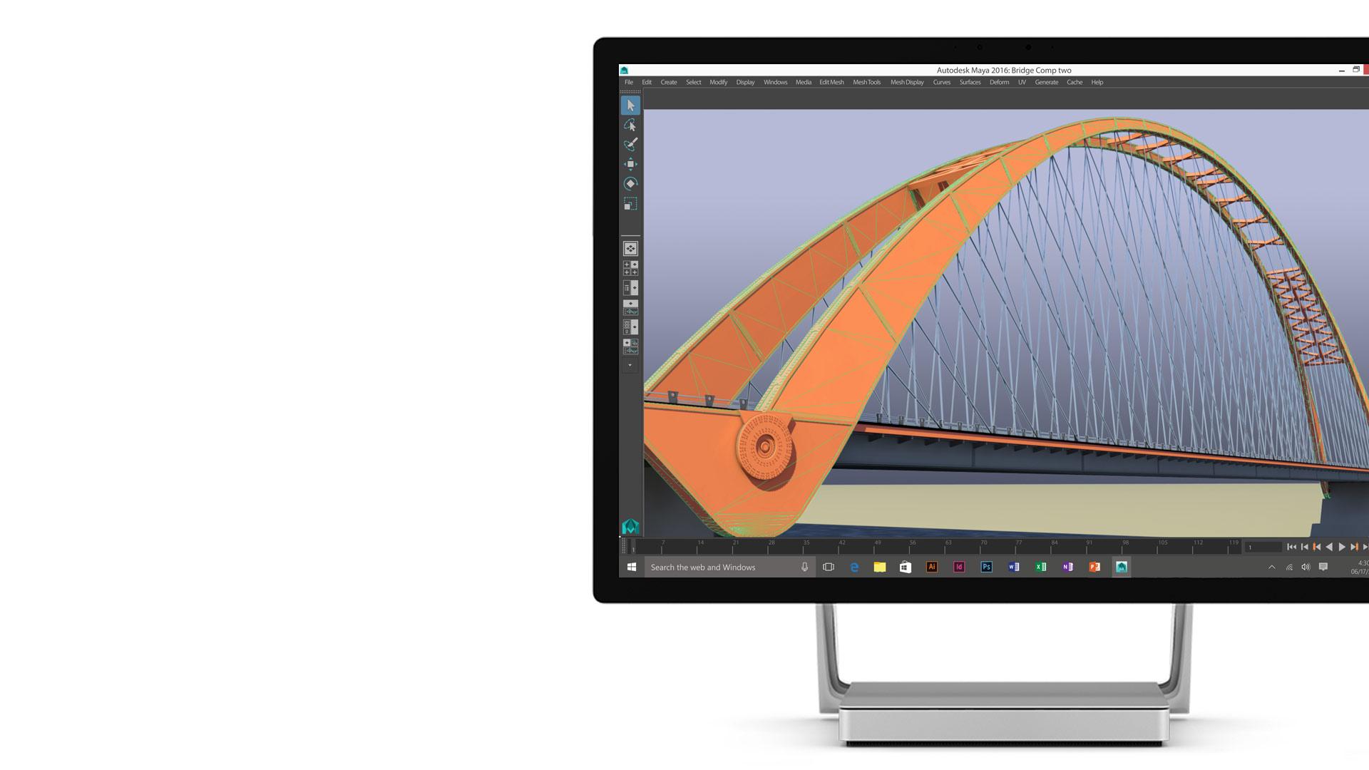 Autodesk Maya 2016 open on the Surface Studio display