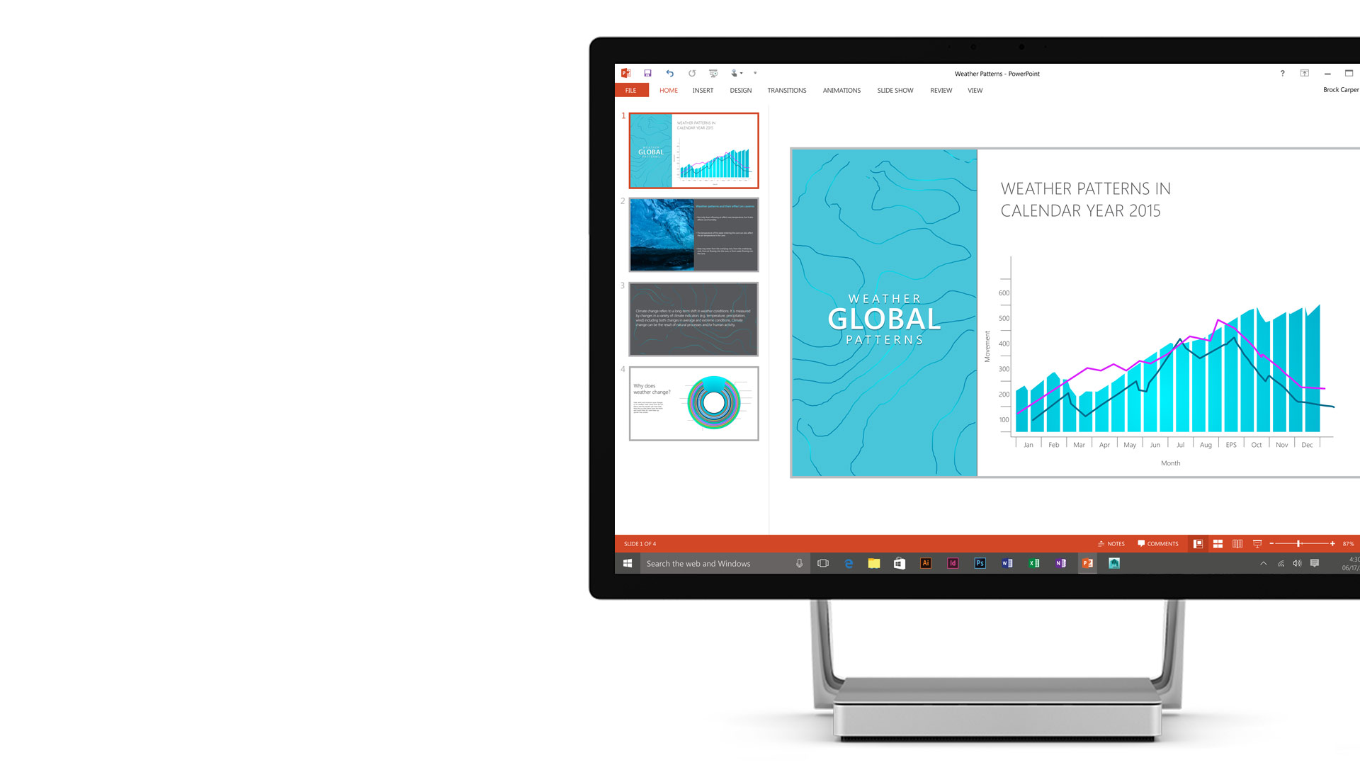 Microsoft PowerPoint open on the Surface Studio display