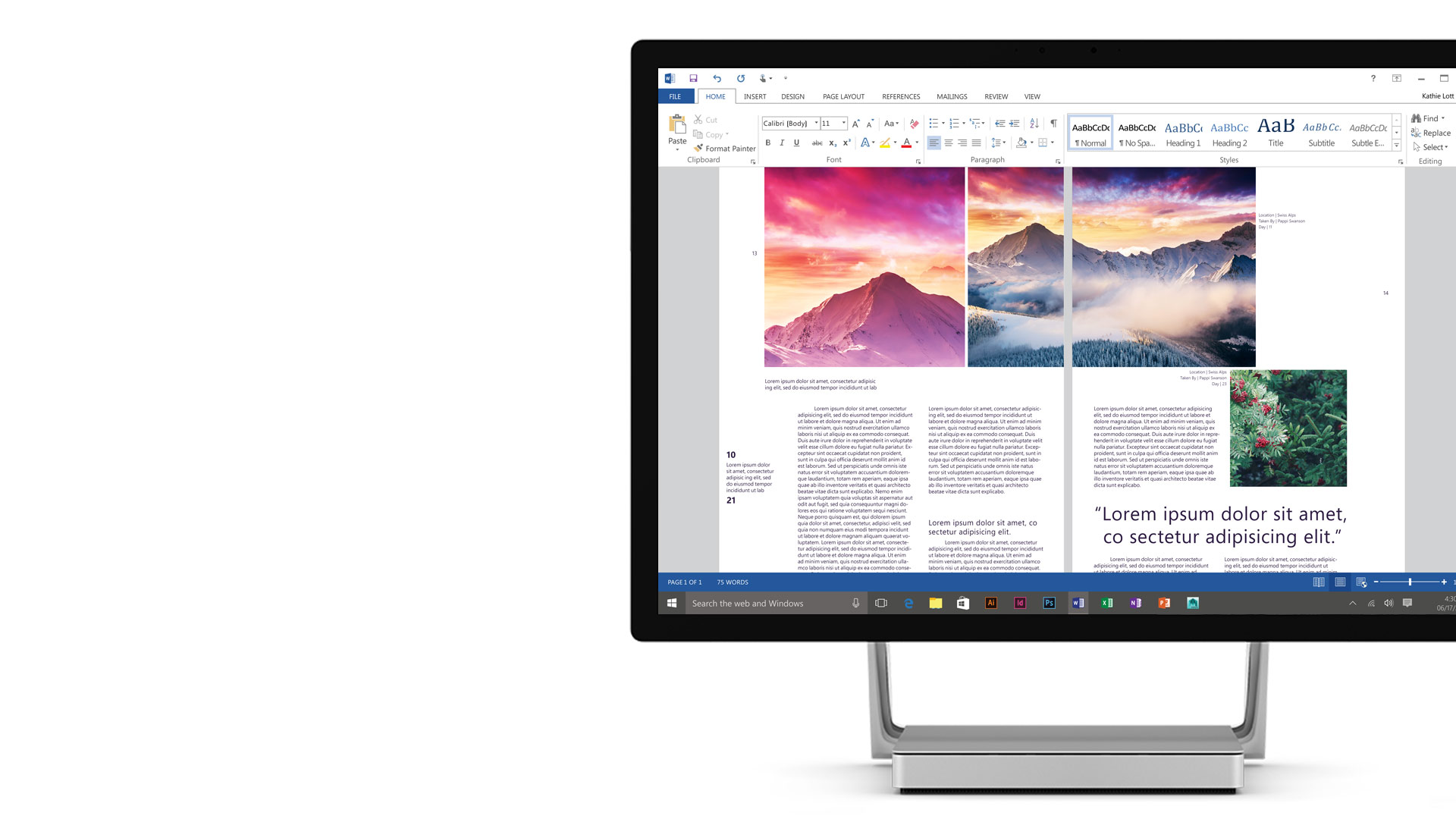 Microsoft Word open on the Surface Studio display