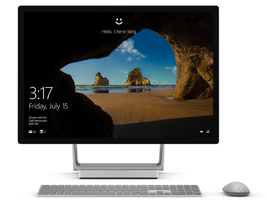 Surface Studio facing front with Windows Hello on the screen