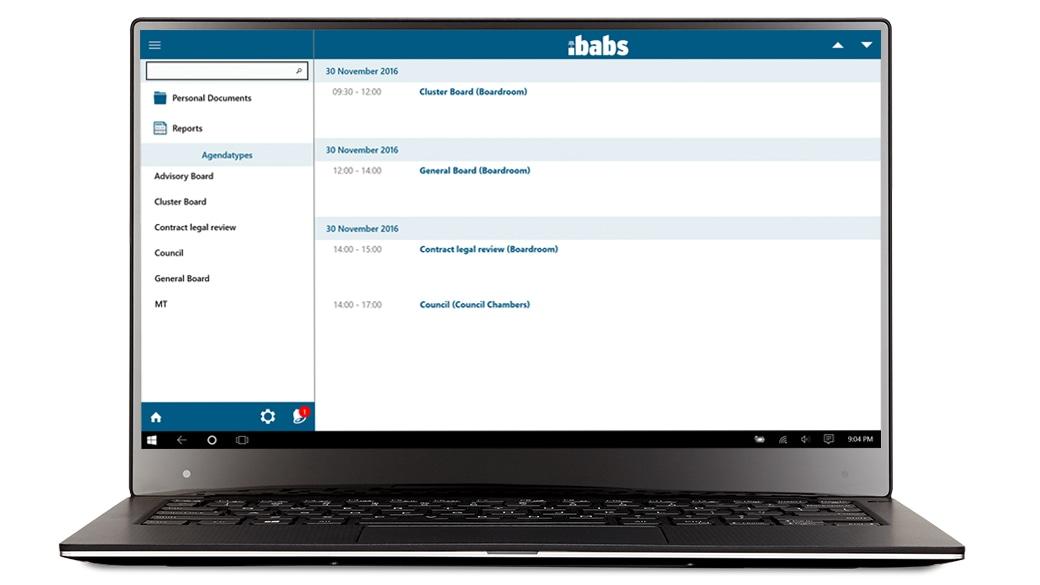 Laptop displaying iBabs Paperless Metting app