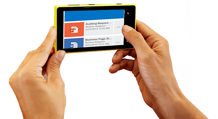 A smartphone held in two hands, showing Office 365 being accessed.