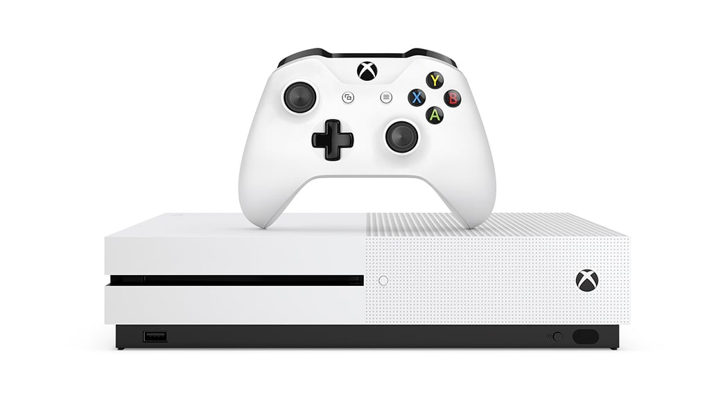 Xbox One S with white controller placed above it