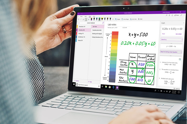 A Windows 10 computer showing the maths assistant capabilities in OneNote
