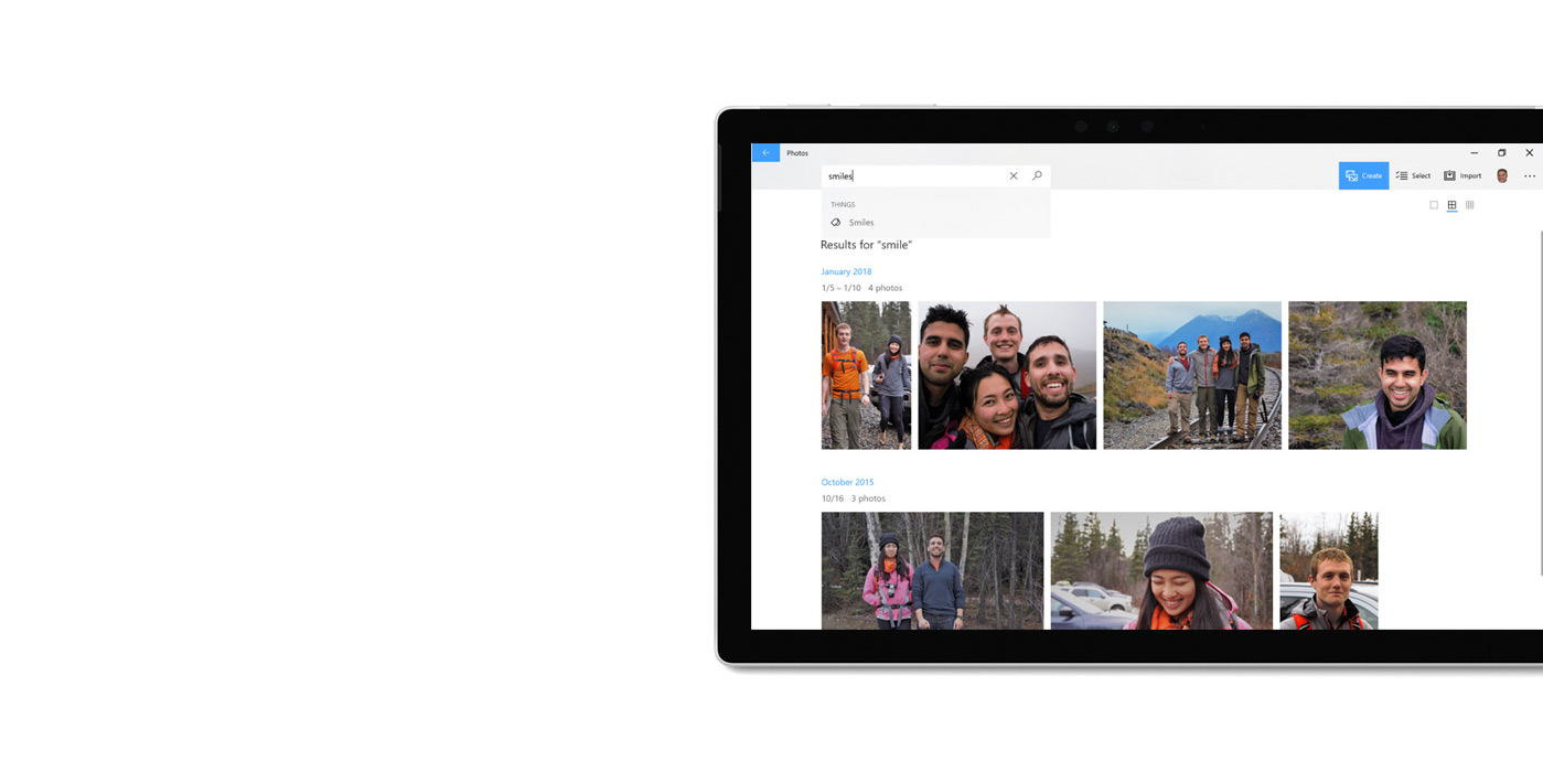 Tablet device with Photos app displayed using the search function to find images.