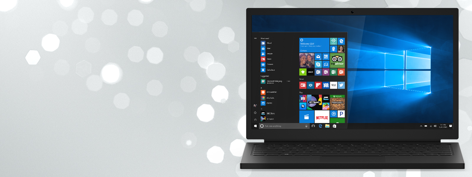 A laptop with a Windows Start screen