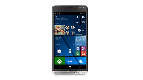 A Windows 10 phone showing a Windows 10 mobile start screen.