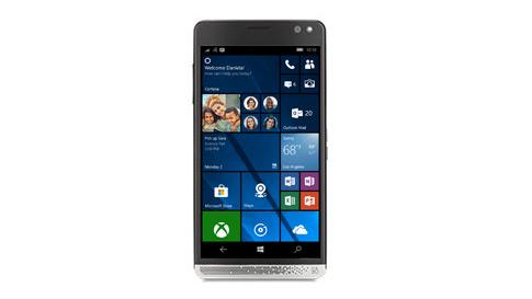 A Windows 10 phone showing a Windows 10 mobile start screen.
