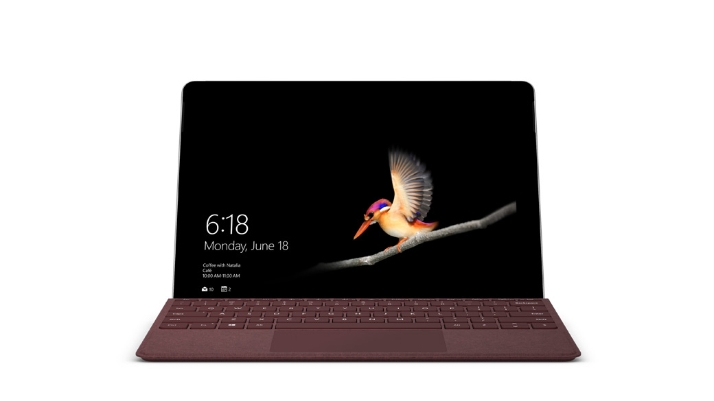 Surface Go pictured in Laptop mode with Surface Go Signature Typecover