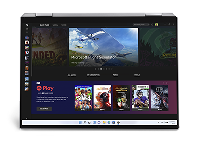 A computer screen displaying the games like The Sims 4 and Madden 21 that can be accessed through Xbox Game Pass