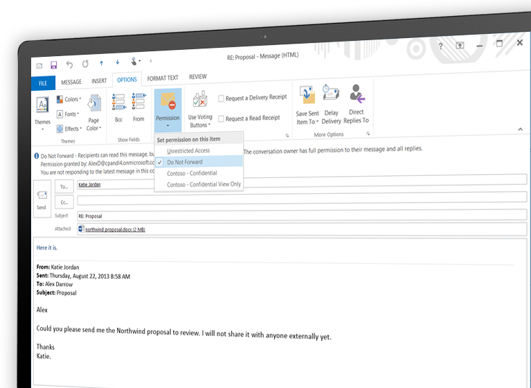 Monitor showing an email encrypted with Microsoft Azure Rights Management.