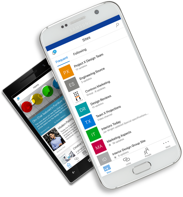 SharePoint app shown on mobile devices
