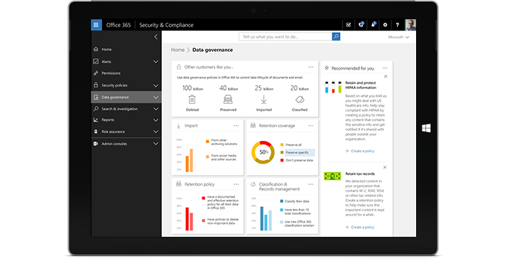 A tablet displaying the Data Governance features in Office 365