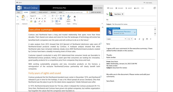 An email message displayed next to a document attachment preview pane using Word Online
