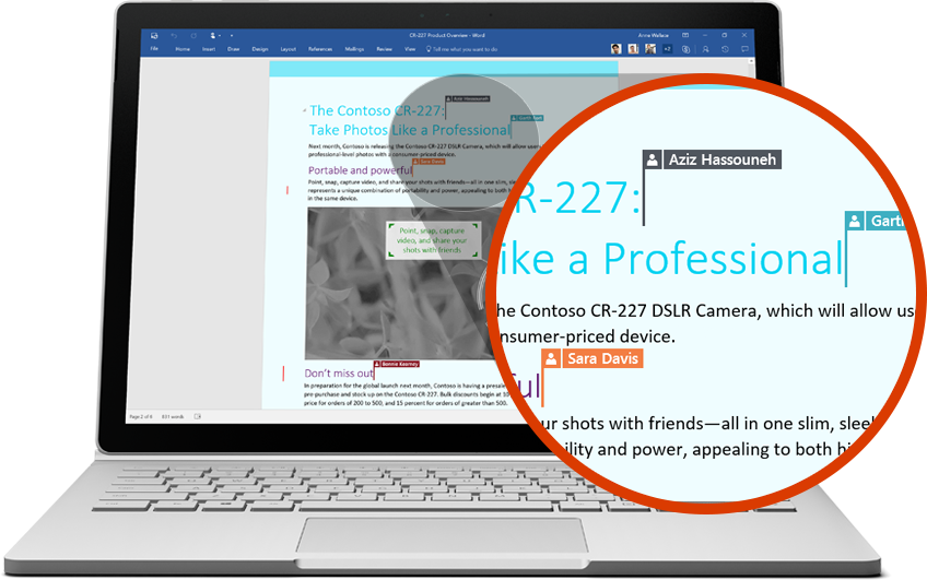 Laptop displaying a Word doc with zoomed-in section showing multiple users editing, play in-page video about collaborating with Office 365