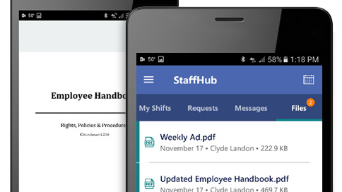 StaffHub running on two smart phones