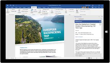 Tablet screen showing Word Researcher being used in a document about European backpacking trips, learn about creating documents with built-in Office tools