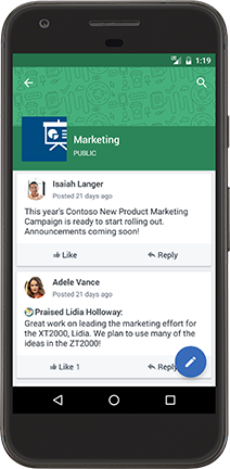 An Android phone displaying a Yammer conversation