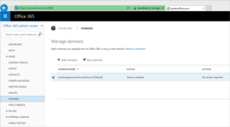 A close-up of the Office 365 admin center page where you manage Exchange Online Protection.