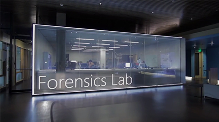 Microsoft Forensics Lab, play in-page video about cybersecurity and keeping your organization safe