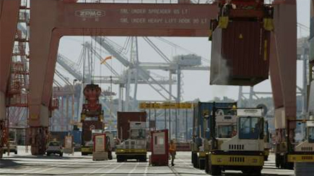 Shipping containers being loaded by cranes, watch in-page video about how Skype for Business can transform the workplace