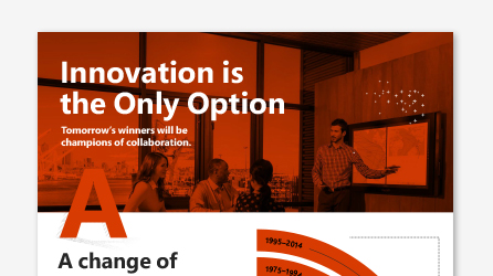 Screenshot of infographic, download Innovation is the Only Option infographic by using the link on the landing page