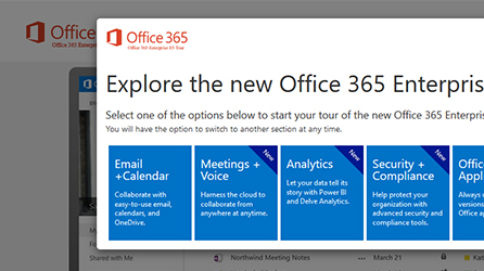 Screenshot of the Office 365 Enterprise Guided Tour, take the tour now to learn about Office 365 enterprise features