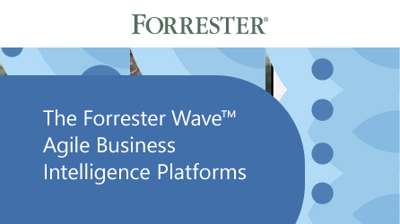 Cover page of report, read the Forrester Wave: Agile Business Intelligence Platforms report by completing the form on the registration page