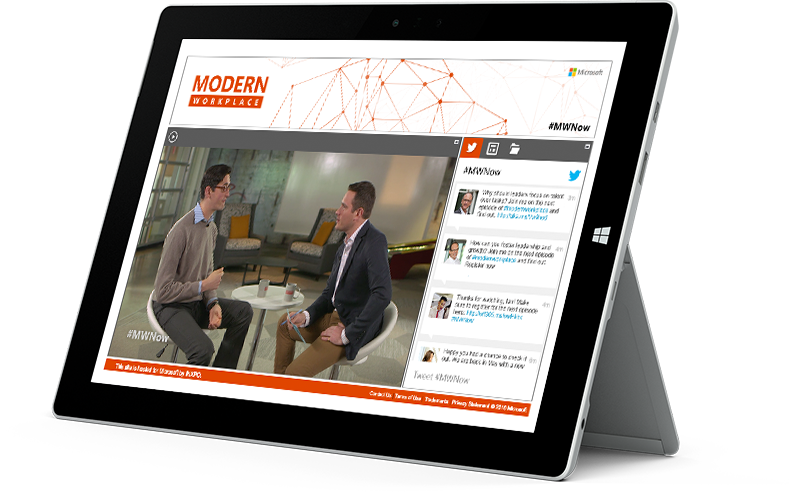 A Microsoft Surface tablet featuring an episode of Modern Workplace and a chat window