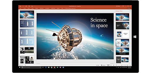 Tablet screen showing a presentation about science in space, learn about creating documents with built-in Office tools