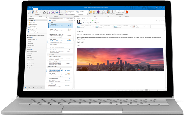 A laptop showing a preview of an Office 365 email with custom formatting and an image.