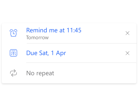 Details of a To-Do list showing two reminders