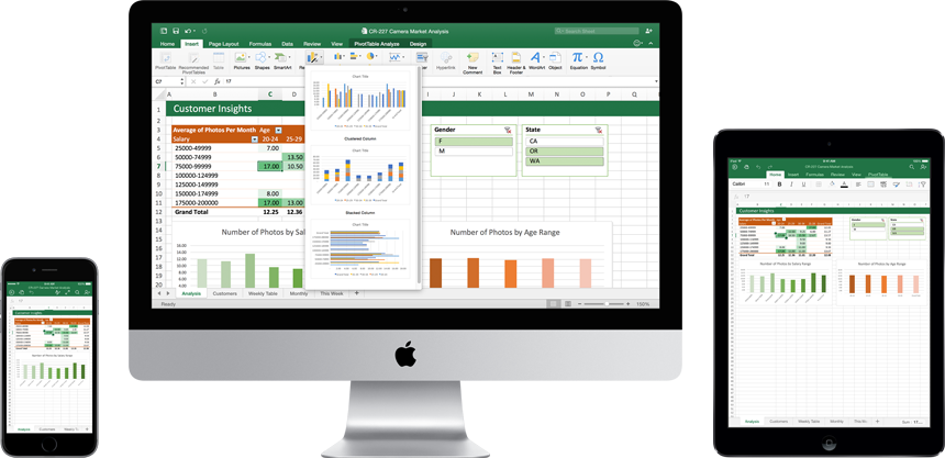 An iPhone, Mac monitor, and iPad showing the new Excel for Mac in use.