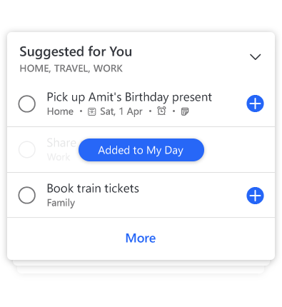 Details of a To-Do list showing to-do suggestions