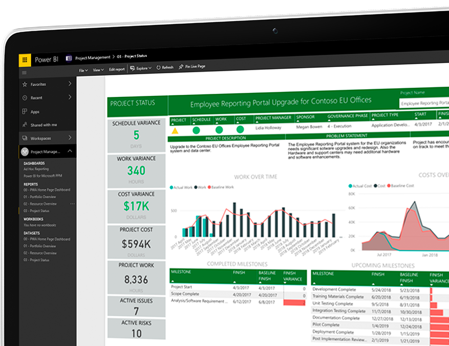 Device with Project employee reporting portal open showing numerical data and data visualizations