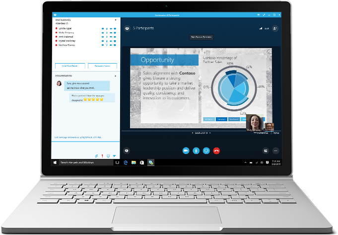 A laptop displaying a Skype for Business meeting in progress with a presentation and attendee list