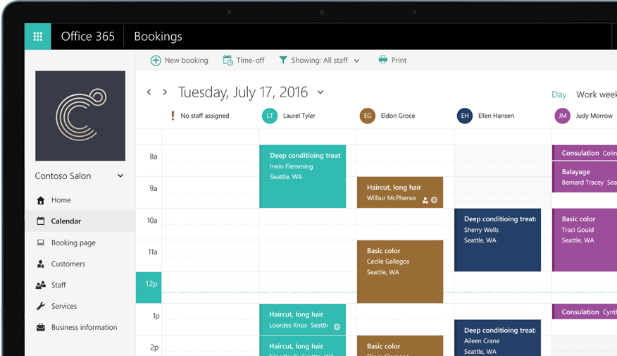 A tablet showing the Office 365 Bookings calendar tools.