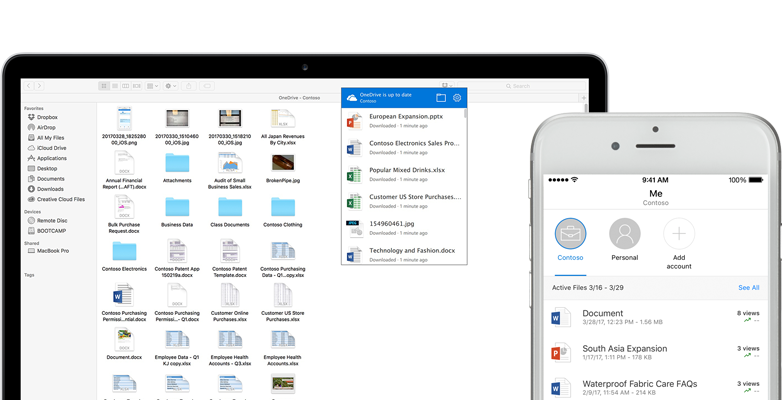 a laptop and a smart phone showing Word, PowerPoint, and Excel files, images, and folders in OneDrive