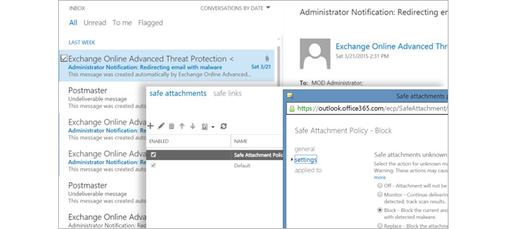 A screenshot of an administrator notification email and a Safe Attachment Policy window.